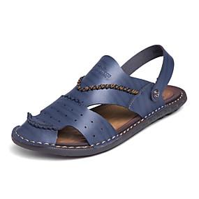 baratos Sandálias Masculinas-Homens Sapatos Confortáveis Microfibra Primavera / Verão Sandálias Caminhada Preto / Azul / Khaki / Casual / Ao ar livre