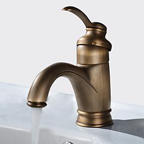 billige Ugentlige tilbud-Baderom Sink Tappekran - Utbredt Antikk Kobber Centersat Enkelt Håndtak Et HullBath Taps