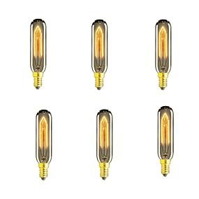 billige Glødelampe-6pcs 40 W E14 T10 Varm hvit 2200-2700 k Kontor / Bedrift / Mulighet for demping / Dekorativ Glødende Vintage Edison lyspære 220-240 V