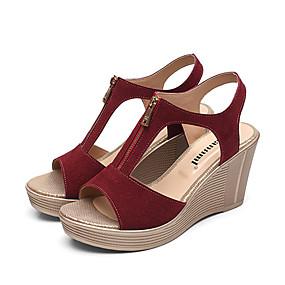 cheap Women's Wedges-Women's Sandals Wedge Heels Wedge Heel Peep Toe Suede Comfort Summer Fuchsia / Coffee / Red / EU40