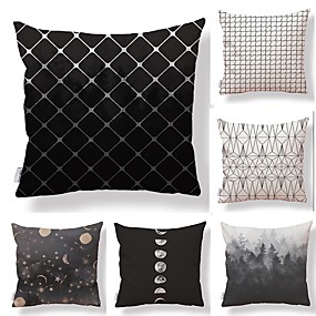 cheap Others-6 pcs Textile Cotton / Linen Pillow case Pillow Cover, Check Geometric Pattern Printing Artistic Style High Quality