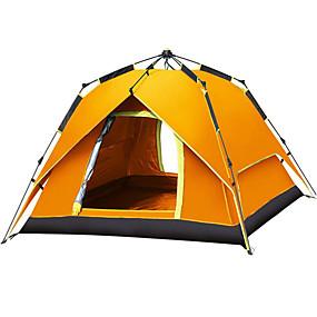 povoljno Dnevne ponude-Shamocamel® 4 osobe Automatski šator Vanjski Vodootporno Vjetronepropusnost UPF 50+ Dvaput Slojeviti Automatski Dome šator za kampiranje 2000-3000 mm za Pješačenje Plaža Kampiranje Poliester Silver