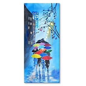 levne Abstraktní malby-Hang-malované olejomalba Ručně malované - Abstraktní Krajina Současný styl Moderní Obsahovat vnitřní rám / Reprodukce plátna