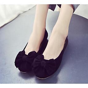 voordelige Damesschoenen met platte hak-Dames Platte schoenen Platte hak Gevlokt Comfortabel / Ballerina Lente / Herfst Zwart / Blauw / Roze
