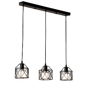 abordables Plafonniers-lustre vintage à 3 têtes en métal noir avec suspensions loft salon salle à manger luminaire