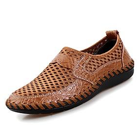 baratos Oxfords Masculinos-Homens Sapatos Confortáveis Couro Primavera / Verão Oxfords Verde / Azul / Marron / Ao ar livre