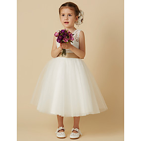 cheap Weddings & Events-Princess Knee Length Flower Girl Dress - Lace / Tulle Sleeveless Jewel Neck with Bow(s) / Sash / Ribbon by LAN TING BRIDE®