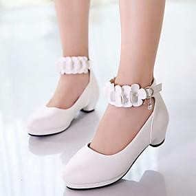 baratos Kids' Shoes Promotion-Para Meninas Couro Ecológico Saltos Little Kids (4-7 anos) / Big Kids (7 anos +) Sapatos para Daminhas de Honra / Salto minúsculos para Adolescentes Branco / Preto / Rosa claro Primavera / Outono