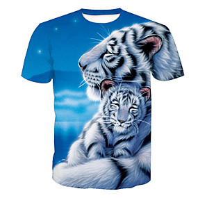 994ec9bf Men's Daily Holiday Active T-shirt - Animal Tiger, Print Round Neck Blue XL  / Short Sleeve / Summer