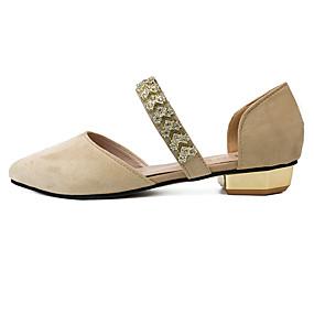 cheap Women's Flats-Women's Shoes Flocking Summer Comfort Flats Walking Shoes Flat Heel Pointed Toe Rhinestone Black / Beige / Pink