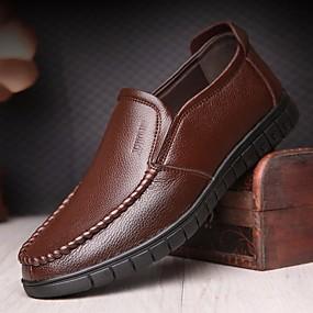 baratos Sapatilhas e Mocassins Masculinos-Homens Sapatos Confortáveis Pele Outono Casual Mocassins e Slip-Ons Preto / Marron / Escritório e Carreira / EU41