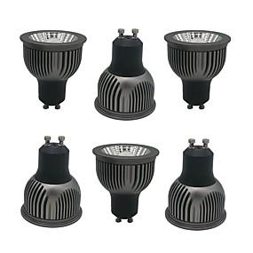 billige Innfelte LED-lys-zdm 6pcs gu10 gu5.3 e27 e14 4w cob led lampe kopp 250-350lm svart fortykket aluminium ikke-dimbar reflektor ledet pærer ac85-265v