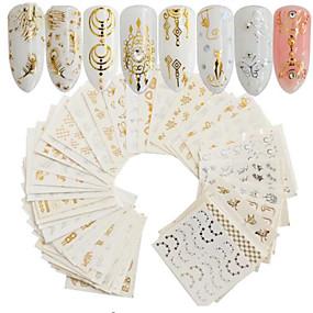 cheap Makeup and Beauty-30 pcs Artificial Nail Tips Nail Art Kit Full Nail Stickers nail art Manicure Pedicure Portable Nail Decals Daily