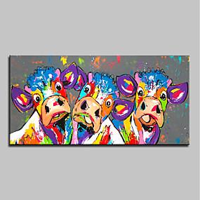 levne Abstraktní malby-Hang-malované olejomalba Ručně malované - Abstraktní Pop Art Moderní Obsahovat vnitřní rám / Reprodukce plátna