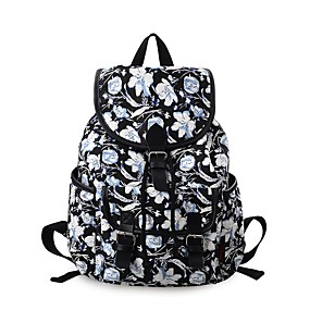 cheap School Bags-Women's Bags Canvas Backpack Buttons / Pattern / Print Geometric Black / Black Grey