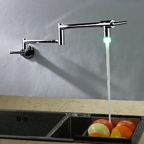 abordables Spray Amovible-Robinet de Cuisine - Deux poignées un trou Chrome Pot Filler Montage mural Moderne Kitchen Taps