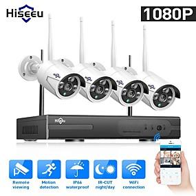 billige Sikkerhedssystemer-hiseeu 1080p trådløst cctv system hdd 2mp 4ch kraftigt nvr ir-cut cctv kamera ip sikkerhedssystem overvågningssæt
