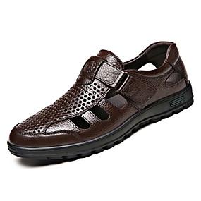 halpa Miesten Oxford-kengät-Miesten Nappanahka / Nahka Kesä Comfort Oxford-kengät Musta / Ruskea