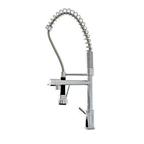 billige Uttrekkbar Spray-Kjøkken Kran - To Håndtak et hull Krom / Nikkel Børstet Uttrekkbar / standard Tut Vannrett Montering Moderne Kitchen Taps