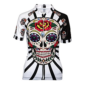 cheap Wanna Train Your Dragon? Be a VIKING First!-Malciklo Women's Cycling Jersey - Black / Red / White Skull Plus Size Bike Jersey Breathable Quick Dry Anatomic Design Sports Skull Mountain Bike MTB Road Bike Cycling Clothing Apparel