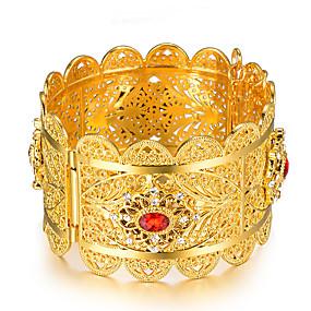 baratos Pulseiras Vintage-Mulheres Bracelete Pulseiras Algema Escultura senhoras Étnico Italiano Chapeado Dourado Pulseira de jóias Dourado Para Festa Presente