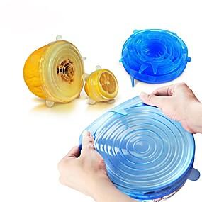 billige Topsællerter-6 stk universell silikon matpakke med lokkskål silikondeksel pan kjøkken vakuumdeksel forsegler
