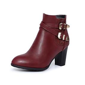 voordelige Wijdere maten schoenen-Dames Laarzen Blokhak Ronde Teen Gesp PU Korte laarsjes / Enkellaarsjes Modieuze laarzen Herfst winter Zwart / Wijn / Donker Bruin / EU41