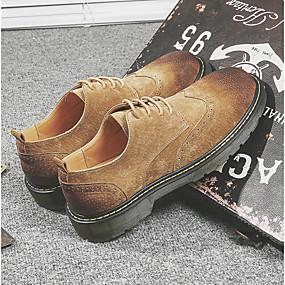 baratos Oxfords Masculinos-Homens Sapatos Confortáveis Couro de Porco Primavera Oxfords Verde / Marron / Café