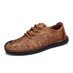 voordelige Wijdere maten schoenen-Heren Comfort schoenen Nappaleer / Leer Lente zomer Sneakers Zwart / Lichtbruin / Donker Bruin / Uitgehold