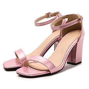 povoljno Cipele za maturu-Žene Cipele na petu Kockasta potpetica Otvoreno toe PU Udobne cipele / Remen oko gležnja Proljeće Zelen / Plava / Pink / Zabava i večer / Dnevno / Zabava i večer
