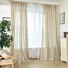 cheap Sheer Curtains-Sheer Curtains Shades Dining Room Solid Colored Linen / Cotton Blend Printed