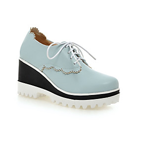 cheap Women's Wedges-Women's Oxfords Comfort Shoes Wedge Heel Round Toe PU(Polyurethane) Spring &  Fall Black / Pink / Light Blue / Daily
