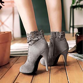 abordables Bottes Tendance-Femme Bottes Fashion Boots Talon Aiguille Bout rond Daim Bottine / Demi Botte Classique Automne hiver Noir / Gris / Bourgogne / Mariage / Soirée & Evénement