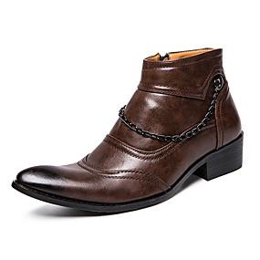 baratos Botas Masculinas-Homens Sapatos formais Couro Sintético Outono Botas Botas Curtas / Ankle Preto / Marron / Casamento / Festas & Noite