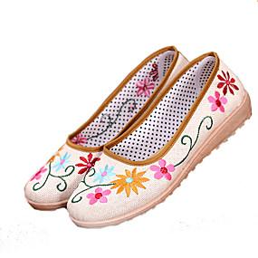 voordelige Damesschoenen met platte hak-Dames Platte schoenen Ballerina's Platte hak Linnen Zomer Wit / Geel