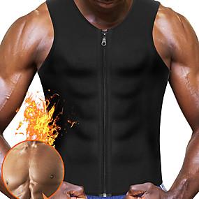 お買い得  Ideias Para Aproveitar o Tempo Livre-ウエストトレーナーベスト ボディーシェイパー ホットスウェットワークアウトタンクトップスリミングベスト ネオプレン ジッパ- 減量 おなかファットバーナー ヨガ エクササイズ&フィットネス ジムトレーニング ために 男性用 腹部