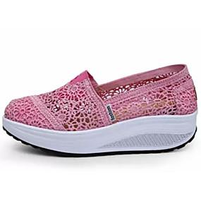 baratos Sapatos Esportivos Femininos-Mulheres Tênis Sapatos Confortáveis Sem Salto Renda Sapatos para Swing Verão Preto / Azul Escuro / Fúcsia