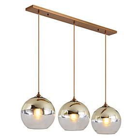 billige Hengelamper-ZHISHU 3-Light Anheng Lys Nedlys galvanisert Metall Glass Nytt Design 110-120V / 220-240V Pære Inkludert