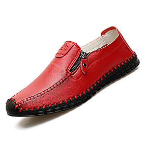 8552a4f1a Homens Sapatos Confortáveis Couro Ecológico Outono Casual Mocassins e  Slip-Ons Não escorregar Preto / Marron / Vermelho