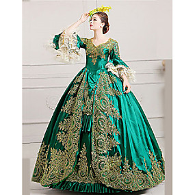 cheap Toys & Hobbies-Marie Antoinette Rococo 18th Century Costume Women's Dress Party Costume Masquerade Ball Gown Green Vintage Cosplay Lace Satin Party Prom Poet Sleeve Floor Length Ball Gown Plus Size Customized