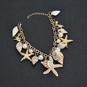baratos Pulseira de Charme-Mulheres Pulseira com Pingentes Tropical Estrela do Mar Concha Tropical Imitação de Pérola Pulseira de jóias Dourado Para Casamento Carnaval Para Noite Aniversário Bikini