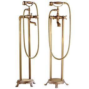 billige Rabatt Kraner-Dusjkran - Antikk Antikk Kobber Centersat Keramisk Ventil Bath Shower Mixer Taps / Messing / To Håndtak to hull