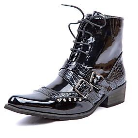 baratos Botas Masculinas-Homens Fashion Boots Couro Envernizado Inverno Casual / Formais Botas Manter Quente Botas Cano Médio Preto / Escritório e Carreira / Coturnos