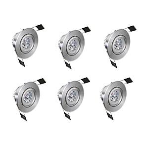billige Innfelte LED-lys-6pcs 3 W 300 lm 3 LED perler Lett installasjon Nedfellt Innfelt lampe Varm hvit Kjølig hvit 85-265 V Kommersiell Hjem / kontor Stue / spisestue