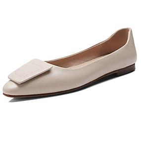 2b4d053c85d3a نسائي أحذية الراحة Leather نابا الخريف اخفاف كعب مسطخ أسود   البيج   لون  الجمل