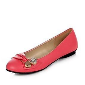 voordelige Damesschoenen met platte hak-Dames Comfort schoenen PU Lente & Herfst Zoet Platte schoenen Platte hak Ronde Teen Strass Perzik / Groen / Roze