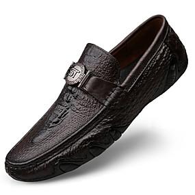 baratos Sapatilhas e Mocassins Masculinos-Homens Sapatos de couro Pele Napa Primavera & Outono Casual / Formais Mocassins e Slip-Ons Massgem Preto / Café / Marron