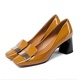 voordelige Damesinstappers & loafers-Dames Nappaleer Lente Loafers & Slip-Ons Blokhak Zwart / Oranje