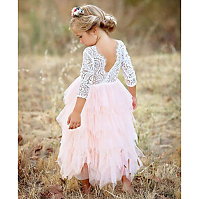 cheap France Promotion 2019-Kids Girls' Basic Daily Solid Colored Lace / Layered Long Sleeve Cotton / Polyester Dress Red