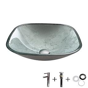 abordables Eviers-Lavabo de Salle de Bain / Robinet de Salle de Bain / Bague de Fixation de Salle de Bain contemporain - Verre Trempé Carré Vessel Sink